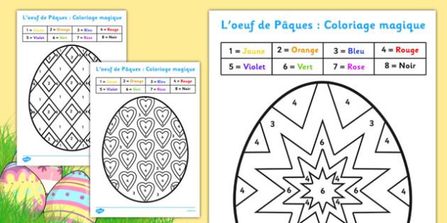 Coloriages Magiques L œuf De Paques Motricite Fine Numeration