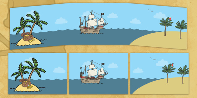 Small World Background (Pirates) - Small World, backdrop, background, scenery, small world area, small world display, small world resources, pirate, pirates, treasure, ship, jolly roger, ship, island, ocean