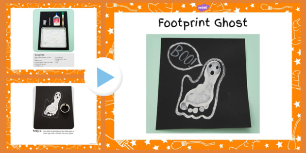 Footprint Ghost Craft Instructions PowerPoint - ghost, craft, footprint, powerpoint, halloween