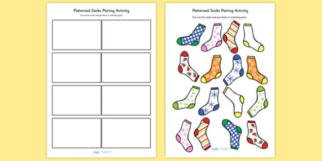 Patterned Socks Pairing Activity - patterns, matching, pairs