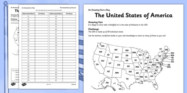 The United States of America Activity Sheet - USA, states, map, fact of the day, activity, worksheet