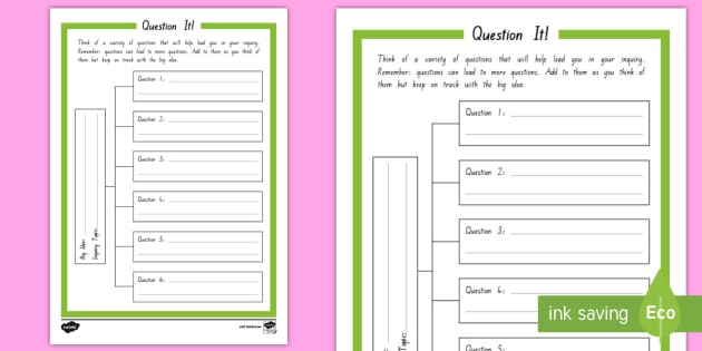 Inquiry Question It Student Planning Worksheet Activity