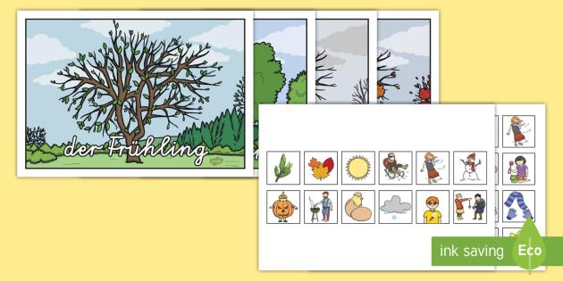 Die Jahreszeiten Arbeitsblatt: Erstes Schneiden und Kleben