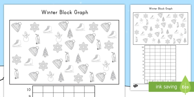 Winter-Themed Color, Count and Graph Worksheet / Activity Sheet - winter, color, count, graph, worksheet / activity sheet