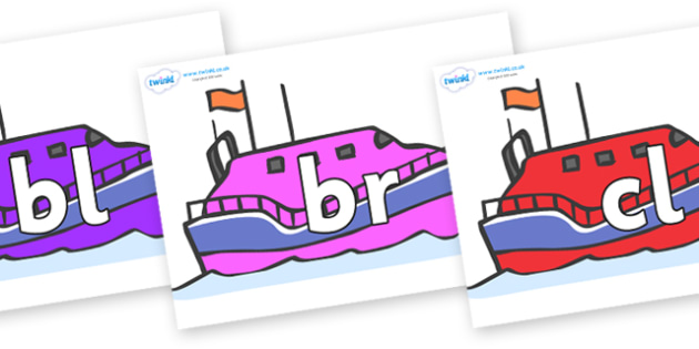 Initial Letter Blends on Lifeboats - Initial Letters, initial letter, letter blend, letter blends, consonant, consonants, digraph, trigraph, literacy, alphabet, letters, foundation stage literacy