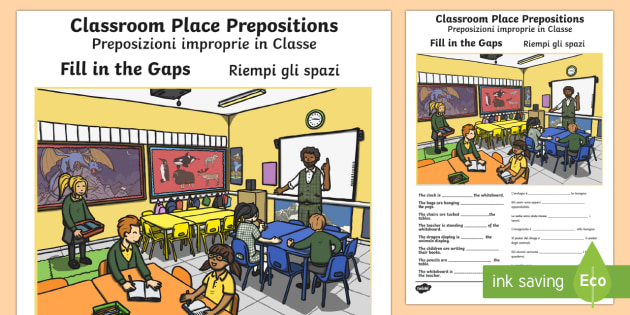 Classroom Place Prepositions Fill In The Gaps English