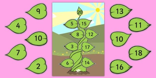Number Bonds to 20 Beanstalk Activity - number bonds, 20, beanstalk, activity, number, bonds