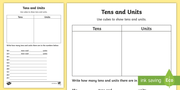 tens and units worksheet activity sheet numeracy tens. Black Bedroom Furniture Sets. Home Design Ideas