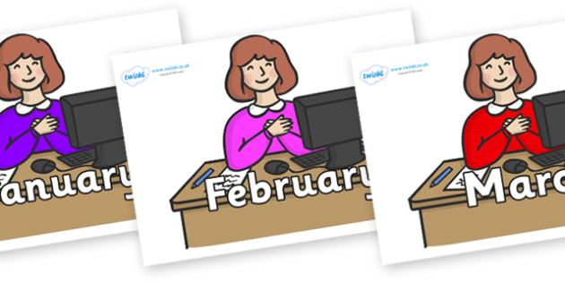 Months of the Year on Receptionists - Months of the Year, Months poster, Months display, display, poster, frieze, Months, month, January, February, March, April, May, June, July, August, September