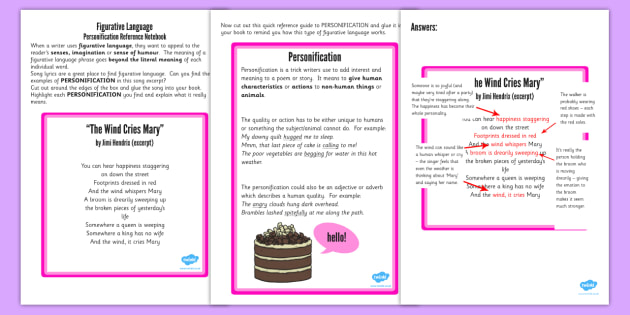 Figurative Language Activity Reference Sheet Personification