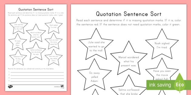Quotation sentence sort worksheet activity sheet quotation quotation sentence sort worksheet activity sheet quotation marks dialogue english language ccuart Image collections