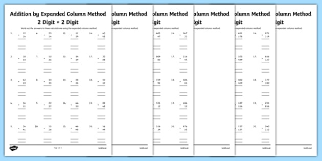 Year  Addition By Expanded Column Method Worksheet  Activity