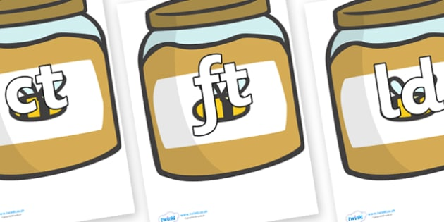 Final Letter Blends on Honey Jars - Final Letters, final letter, letter blend, letter blends, consonant, consonants, digraph, trigraph, literacy, alphabet, letters, foundation stage literacy