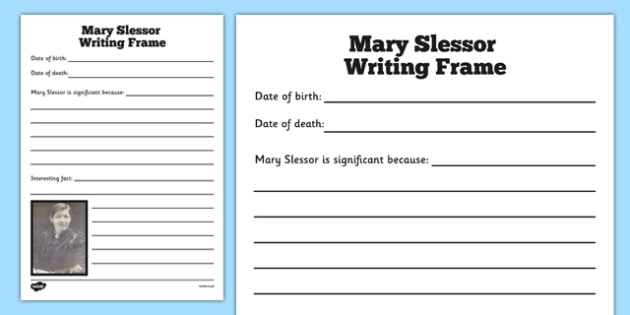 Scottish Significant Individuals Mary Slessor Writing Frames - Scottish significant individual, Christian, missionary, Nigeria