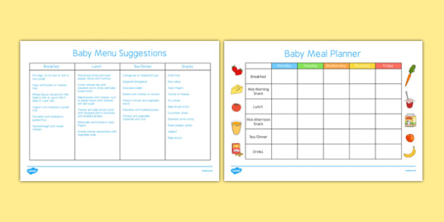 baby meal planner and menu food baby weaning solids meals