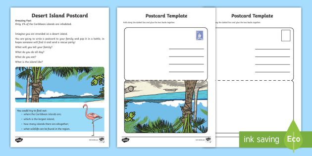 Desert Island Postcard Writing Activity Sheet  - Amazing Fact Of The Day, activity sheets, powerpoint, starter, morning activity, January, KS1 amazin