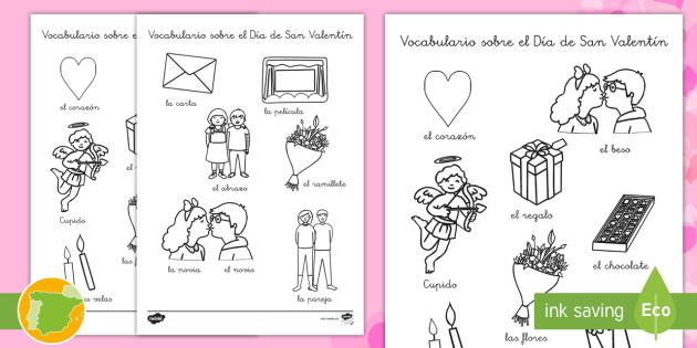 New Hojas De Colorear Vocabulario Sobre El Día De San Valentín Día