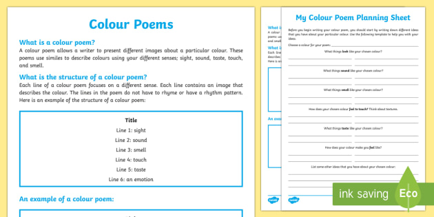 Colour Poem Template For Kids Teacher Made This is a good time to mention that the history of poetic writing does not have to influence the structure of your poem. colour poem template for kids teacher