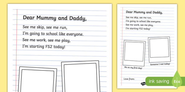 First Day of School Poem Writing Activity Sheet, worksheet