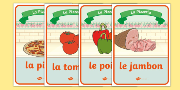 Pizza parlour role play posters French