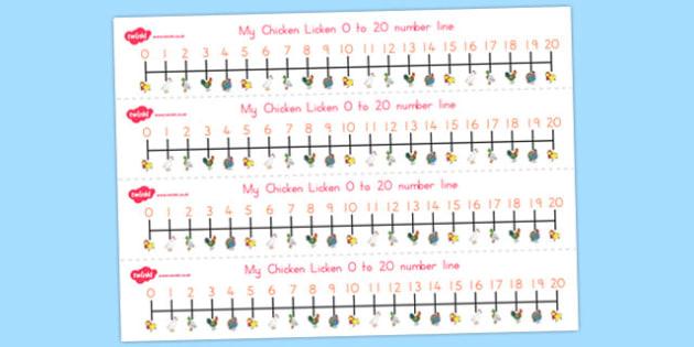Chicken Licken Number Lines 0-20 - australia, chicken licken