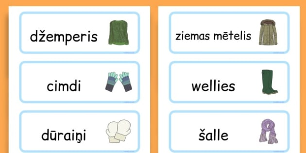 Winter Clothes Word Cards - winter clothes, word cards, winter, clothes - Latvian