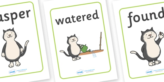 Display Posters to Support Teaching on Jasper's Beanstalk - Jasper, Jasper's Beanstalk, bean, sprayed, display, banner, poster, sign, watered, slugs, rake, found, beanstalk, planted, cat, dig, plant, waiting, story book, story, story resources