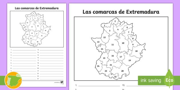 Mapa De Extremadura Comarcas.Ficha De Actividad Las Comarcas De Extremadura Mapas