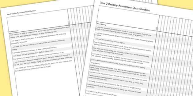 2014 National Curriculum Year 2 English Reading Assessment Class Checklist