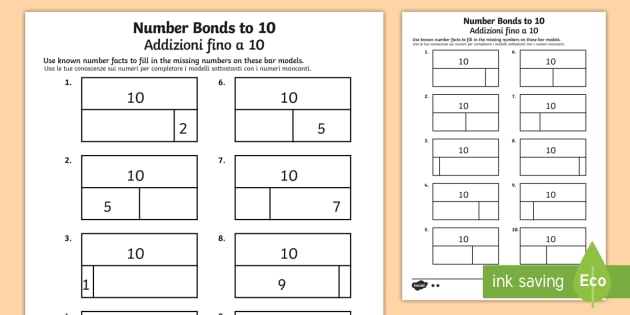 It T N 4856 Bar Modelling Number Bonds To 10 Differentiated Activity Sheet English Italian on Subtraction Number Bonds