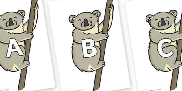 A-Z Alphabet on Koalas - A-Z, A4, display, Alphabet frieze, Display letters, Letter posters, A-Z letters, Alphabet flashcards