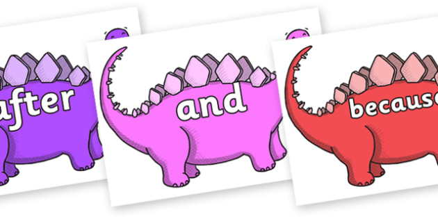 Connectives on Stegosaurus - Connectives, VCOP, connective resources, connectives display words, connective displays