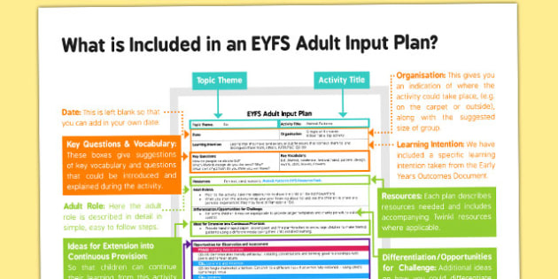 EYFS Adult Input Plan User Guide - EYFS planning, early years planning, adult led activity