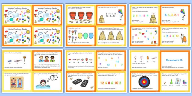 Summer Themed KS1 Maths Challenge Cards - summer, challenge, math
