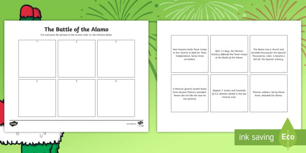 Battle of the Alamo Timeline Worksheet / Worksheets - United ...