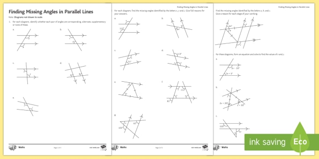Finding Missing Angles In Parallel Lines Worksheet