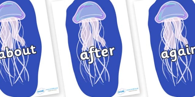 KS1 Keywords on Jellyfish - KS1, CLL, Communication language and literacy, Display, Key words, high frequency words, foundation stage literacy, DfES Letters and Sounds, Letters and Sounds, spelling