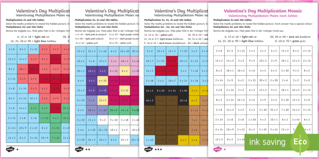 Valentines Day Themed Multiplication Mosaics Activity Sheets