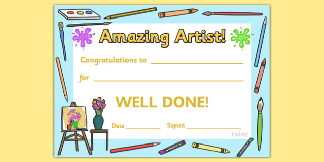Amazing Artist Award Certificate - amazing artist award certificate, amazing artist, amazing, artist, art, Arts, drawing, draw, painting, creative, creativity