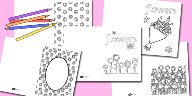 Flower Colouring Cards - flower, colouring, colours, cards, games