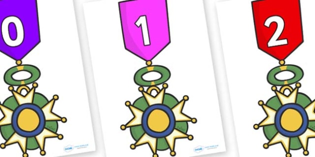 Numbers 0-31 on War Medals - 0-31, foundation stage numeracy, Number recognition, Number flashcards, counting, number frieze, Display numbers, number posters