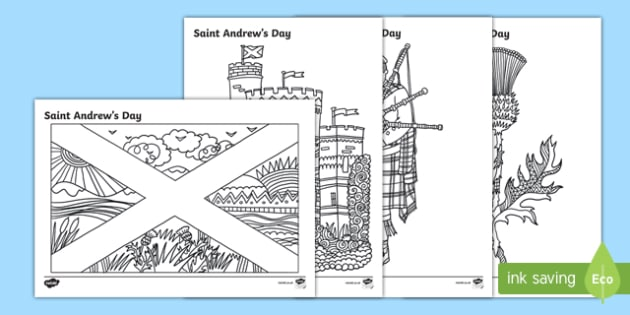 Saint Andrew's Day Scottish Mindulness Colouring Pages