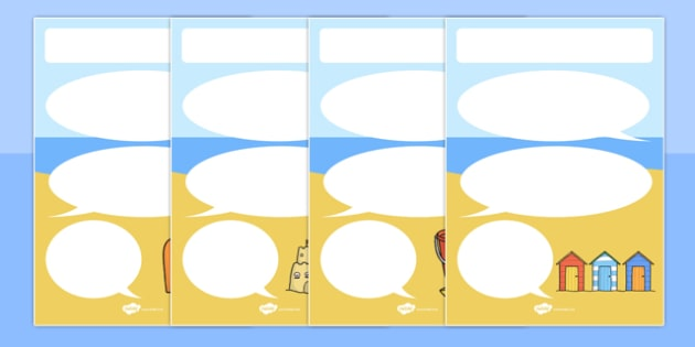 Beach Seaside-Themed Target Posters Speech Bubbles - beach, seaside, target, posters, display, speech bubbles