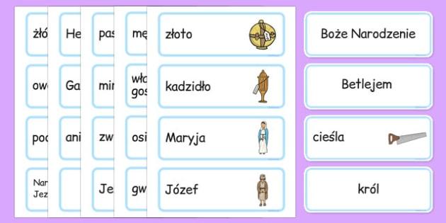 Karty ze słownictwem Boże Narodzenie po polsku - Jezus, Maryja