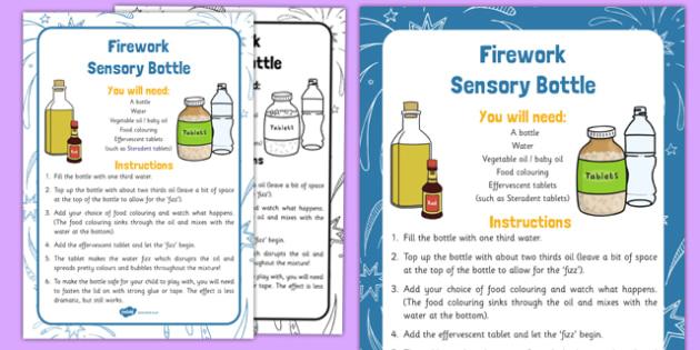 Firework Sensory Bottle - firework, sensory, bottle, sensory bottle, bonfire night