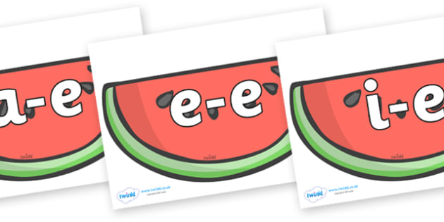 Modifying E Letters on Watermelons to Support Teaching on The Very Hungry Caterpillar - Modifying E, letters, modify, Phase 5, Phase five, alternative spellings for phonemes, DfES letters and Sounds