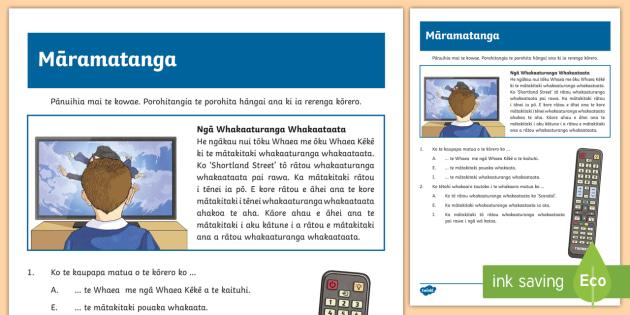 TV Programs Reading Comprehension Worksheet / Worksheet - TV Programs
