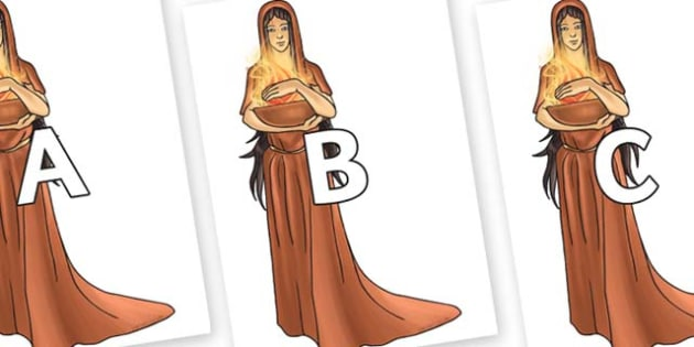 A-Z Alphabet on Hestia - A-Z, A4, display, Alphabet frieze, Display letters, Letter posters, A-Z letters, Alphabet flashcards
