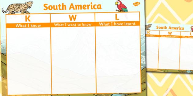 South America Topic KWL Grid - south america, topic, kwl, grid