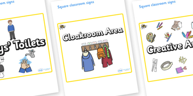 Bee Themed Editable Square Classroom Area Signs (Plain) - Themed Classroom Area Signs, KS1, Banner, Foundation Stage Area Signs, Classroom labels, Area labels, Area Signs, Classroom Areas, Poster, Display, Areas